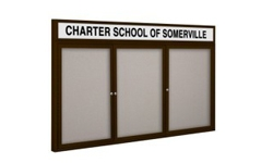 3-Door Outdoor Enclosed Vinyl Bulletin Boards