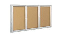 3-Door Outdoor Enclosed Cork Bulletin Boards