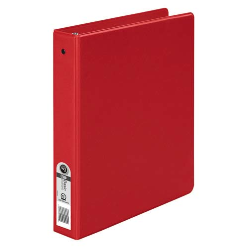 Red Basic Opaque Round Ring Binders Image 1