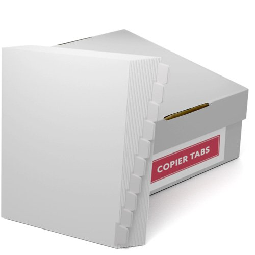 Double Reverse 1/10th Cut 110lb Mylar Coated Copier Tabs (XT11010DR), Copier Tabs Image 1