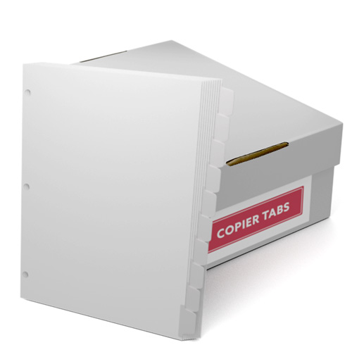 Reverse Collated 1/10th Cut 90lb Mylar Coated Copier Tabs with 3 Holes (XT10SR3HP) Image 1
