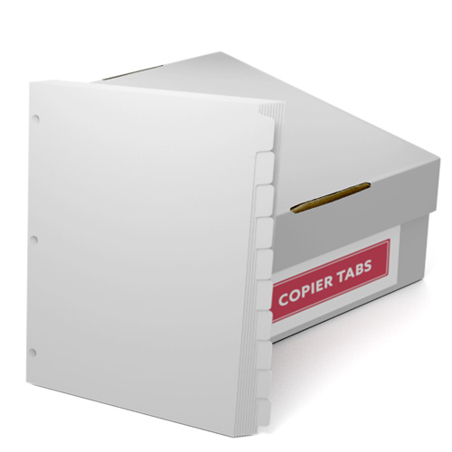 Straight Collated 1/10th Cut 90lb Plain Paper Copier Tabs with 3 Holes (B9010RC3HP) Image 1