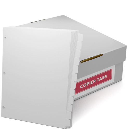 Reverse Collated 1/12th Cut 110lb Plain Paper Copier Tabs with 3 Holes (B11012SR3HP) - $161.19 Image 1