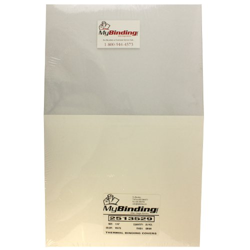 "1/16"" White Grain ThermaBind Covers 25pk (2513529X) Image 1"