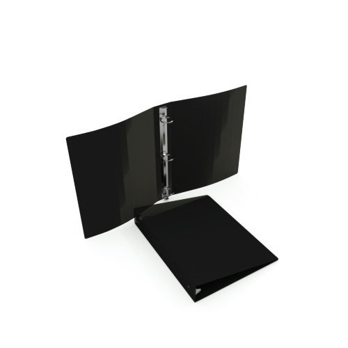 "1/2"" Black 55 Gauge 5.5"" x 8.5"" Poly Round Ring Binders - 100pk (MYPBBLK55120H) - $228.99 Image 1"