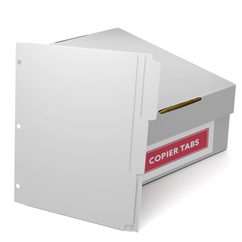 Reverse Collated 1/3rd Cut 110lb Plain Paper Copier Tabs with 3 Holes (B1103SR3HP) - $161.19 Image 1