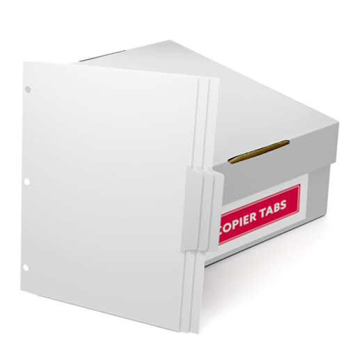 Uncollated 1/3rd Cut 110lb Mylar Coated Copier Tabs 3 Holes - Pos 2 (XT1103POS23HP), Index Tabs Image 1