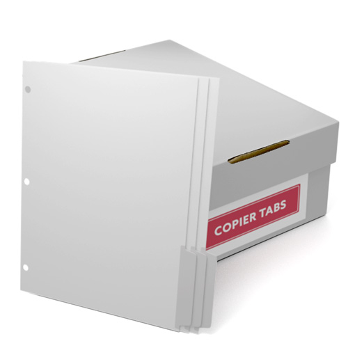 Uncollated 1/3rd Cut 110lb Mylar Coated Copier Tabs 3 Holes - Pos 3 (XT1103POS33HP) Image 1