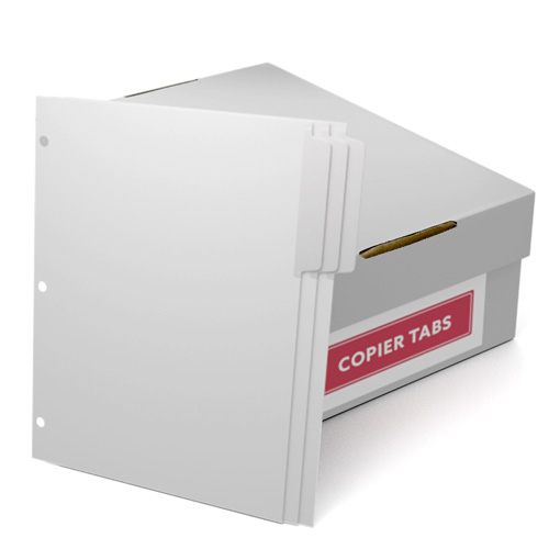Uncollated 1/3rd Cut 90lb Mylar Coated Copier Tabs with 3 Holes Punched (UC1390T3H) Image 1
