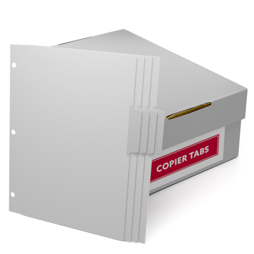 Uncollated 1/4th Cut 110lb Mylar Coated Copier Tabs 3 Holes - Pos 2 (XT1104POS23HP) Image 1