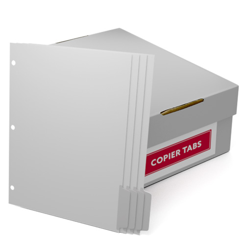 Uncollated 1/4th Cut 110lb Mylar Coated Copier Tabs 3 Holes - Pos 4 (XT1104POS43HP) Image 1