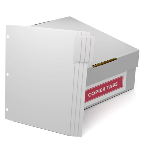 Uncollated 1/4th Cut 90lb Mylar Coated Copier Tabs 3 Holes - Pos 1 (XT4POS13HP), Index Tabs Image 1