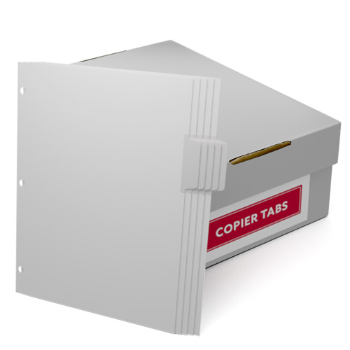 Uncollated 1/5th Cut 90lb Mylar Coated Copier Tabs 3 Holes - Pos 2 (XT5POS23HP), Index Tabs Image 1
