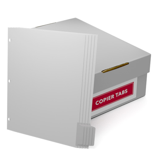 Uncollated 1/5th Cut 90lb Mylar Coated Copier Tabs 3 Holes - Pos 5 (XT5POS53HP), Index Tabs Image 1