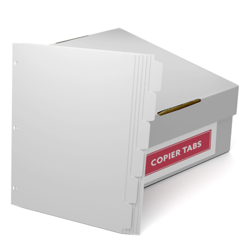 Reverse Collated 1/6th Cut 110lb Plain Paper Copier Tabs with 3 Holes (B1106SR3HP) - $161.19 Image 1