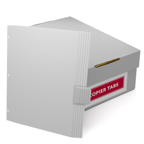 Uncollated 1/6th Cut 110lb Mylar Coated Copier Tabs 3 Holes - Pos 4 (XT1106POS43HP) Image 1