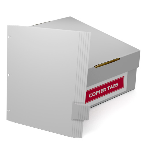Uncollated 1/6th Cut 110lb Mylar Coated Copier Tabs 3 Holes - Pos 5 (XT1106POS53HP) Image 1