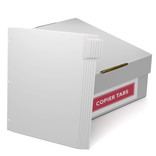 Uncollated 1/6th Cut 110lb Mylar Coated Copier Tabs with 3 Holes Punched (UC16110T3H) Image 1
