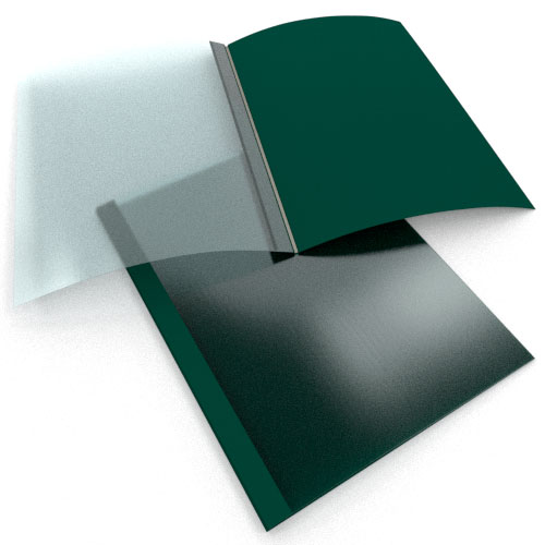 """1/8"""" Green Linen Thermal Binding Utility Covers - 100pk (SO215T180GR) Image 1"""