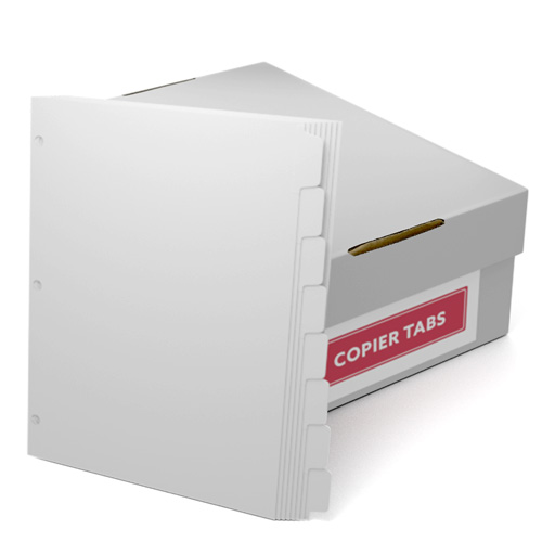 Straight Collated 1/8th Cut 90lb Plain Paper Copier Tabs with 3 Holes (B908RC3HP) Image 1