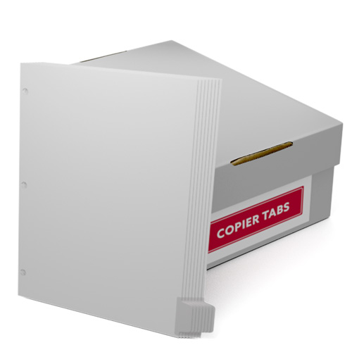 Uncollated 1/8th Cut 110lb Mylar Coated Copier Tabs 3 Holes - Pos 8 (XT1108POS83HP), Index Tabs Image 1