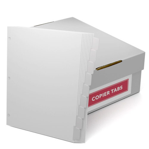 Reverse Collated 1/9th Cut 90lb Mylar Coated Copier Tabs with 3 Holes (XT9SR3HP) Image 1