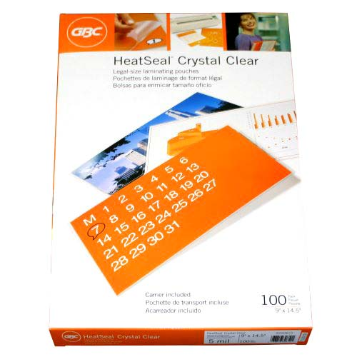 GBC 10mil HeatSeal Crystal Clear Legal Size Pouches 50pk - 3201038 (3200412) Image 1