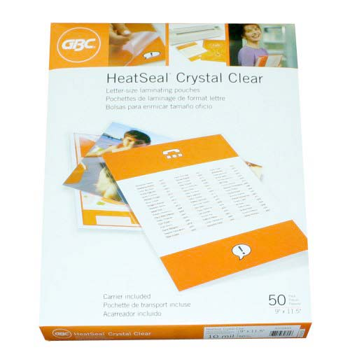 GBC 10mil HeatSeal Crystal Clear Letter Size Pouches 50pk (3200405) Image 1