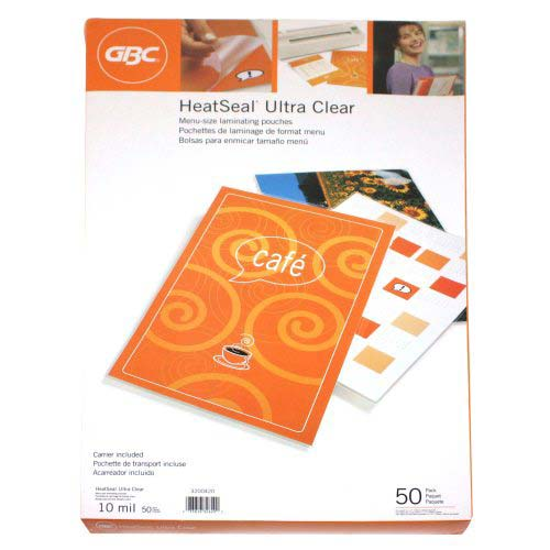 GBC 10mil HeatSeal Ultra Clear Menu Size Laminating Pouches 50pk (3200420) Image 1