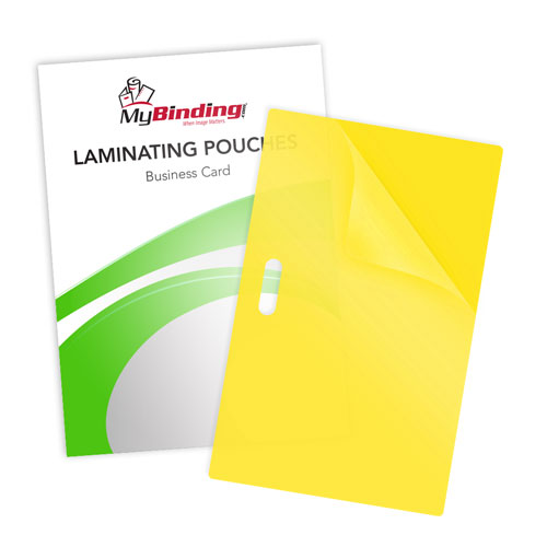 Yellow 10mil Business Card Pouches with Long Side Slot (LSLLKLP10BUSINESSYE), MyBinding brand Image 1