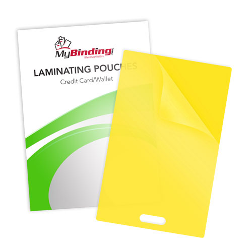 Yellow 10mil Credit Card Pouches with Short Side Slot (SSLLKLP10CREDITYE) Image 1