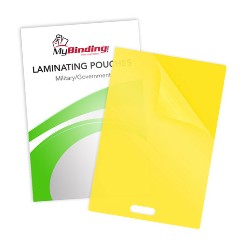 Yellow 10mil Military Size Pouches with Short Side Slot (SSLLKLP10MILITARYYE), MyBinding brand Image 1