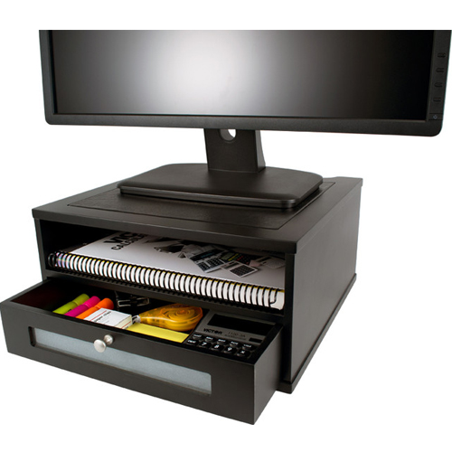 Victor Technology Monitor Riser with Shelf and Drawer (Midnight Black) (1175-5) Image 1