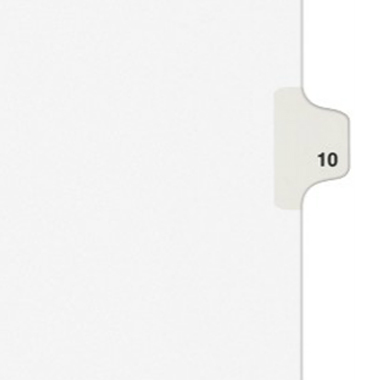 Avery 10 Individual Number Legal Index Style Dividers 25pk (AVE-11920)
