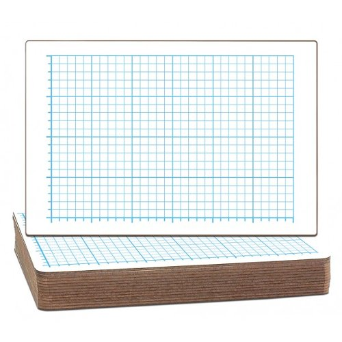 "Flipside 12"" x 18"" Quadrant Grid/Plain Two-Sided Dry Erase Lap Boards - 12pk (FS-22012) Image 1"