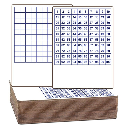 "Flipside 9"" x 12"" Two-Sided Dry-Erase Classroom Lap Boards with Printed Hundreds Grid - 24pk (FS-12423) Image 1"