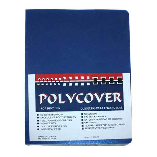 "12mil Stripe Transparent Blue Poly 8.75"" x 11.25"" Covers (100pk) (AKCST12CRBLT2) Image 1"