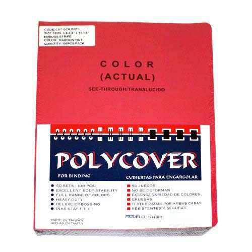 "12mil Stripe Transparent Maroon Poly 8.75"" x 11.25"" Covers (100pk) (AKCST12CRMRT1) Image 1"