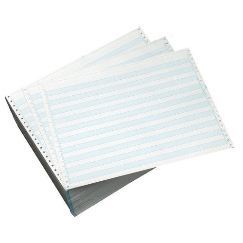 "Performance Office Papers 14 7/8"" X 11"" 18lb 1/2"" Blue Bar Hi-Lite Continuous Computer Paper - 3000/Case (1 Ply) (DT9914) Image 1"