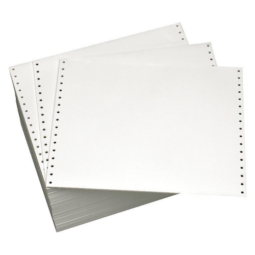 "Performance Office Papers 12"" X 8.5"" 20lb Blank Clean Edge Continuous Computer Paper - 3700/Case (1 Ply) (DT81118) Image 1"