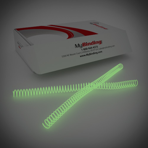 15mm Glow in the Dark 4:1 Pitch Spiral Binding Coil - 100pk (P4GID1512) Image 1