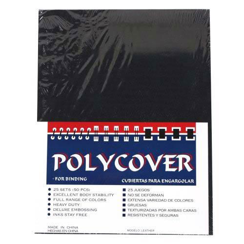 "16mil Black Leather Grain Poly 12"" x 12"" Covers (50pk) (AKCLT16BK12X12) Image 1"