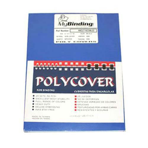 """16mil Blue Leather Grain Poly 8.5"""" x 11"""" Covers (50pk) (AKCLT16CSBL01), Binding Covers Image 1"""