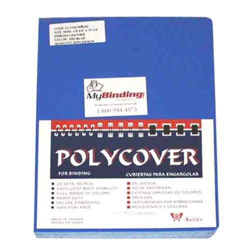 """16mil Blue Leather Grain Poly 8.75"""" x 11.25"""" Covers (50pk) (AKCLT16CRBL01), Binding Covers Image 1"""
