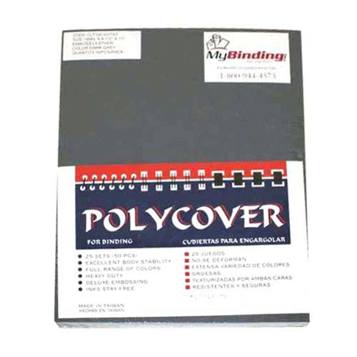 16mil Gray Leather Grain Poly Covers (MYLGC16GY), Covers Image 1