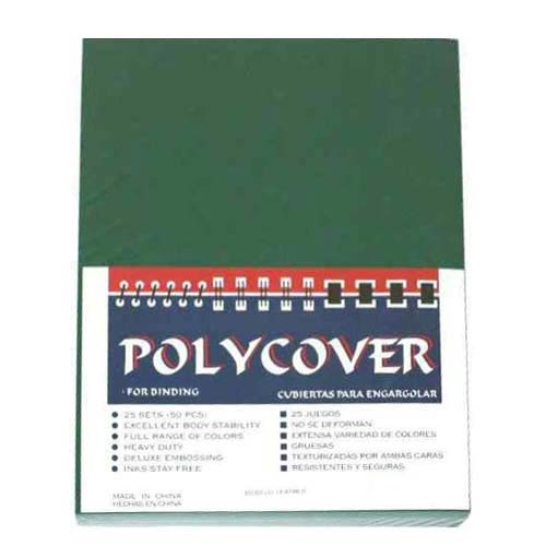 "16mil Green Leather Grain Poly 8.5"" x 11"" Covers (50pk) (AKCLT16CSGR01) - $25.64 Image 1"
