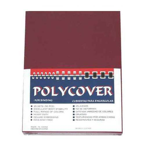 "16mil Maroon Leather Grain Poly 8.5"" x 11"" Covers (50pk) (AKCLT16CSMR01)"