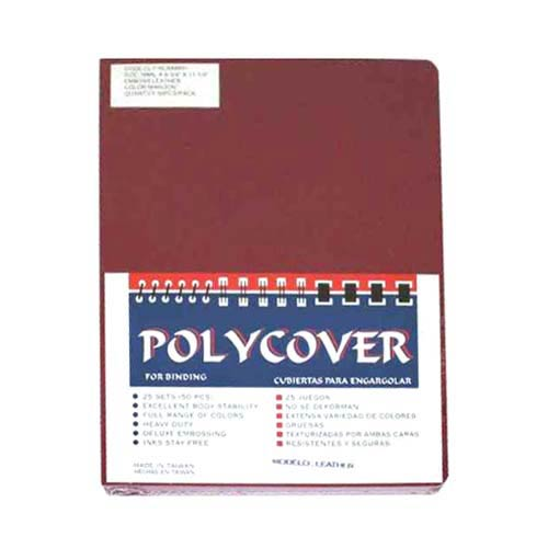 "16mil Maroon Leather Grain Poly 8.75"" x 11.25"" Covers (50pk) (AKCLT16CRMR01)"