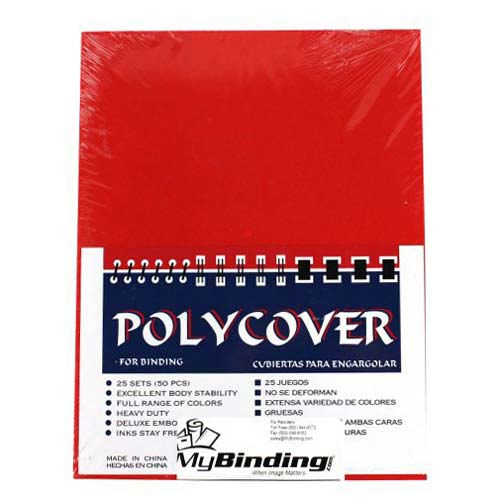 """16mil Red Leather Grain Poly 5.5"""" x 8.5"""" Covers (50pk) (AKCLT16CSRD01H), Covers Image 1"""