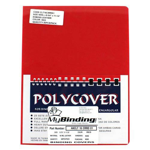 """16mil Red Leather Grain Poly 8.75"""" x 11.25"""" Covers (50pk) (AKCLT16CRRD01), Covers Image 1"""